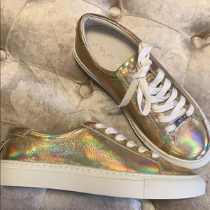 Gold holographic J/Slides sneakers, new, sz 6.5